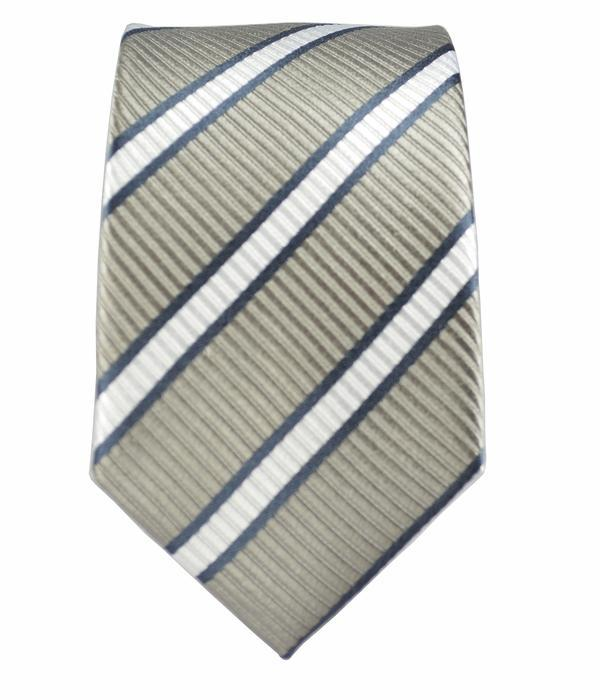 Grey Striped Boys Silk Tie by Paul Malone