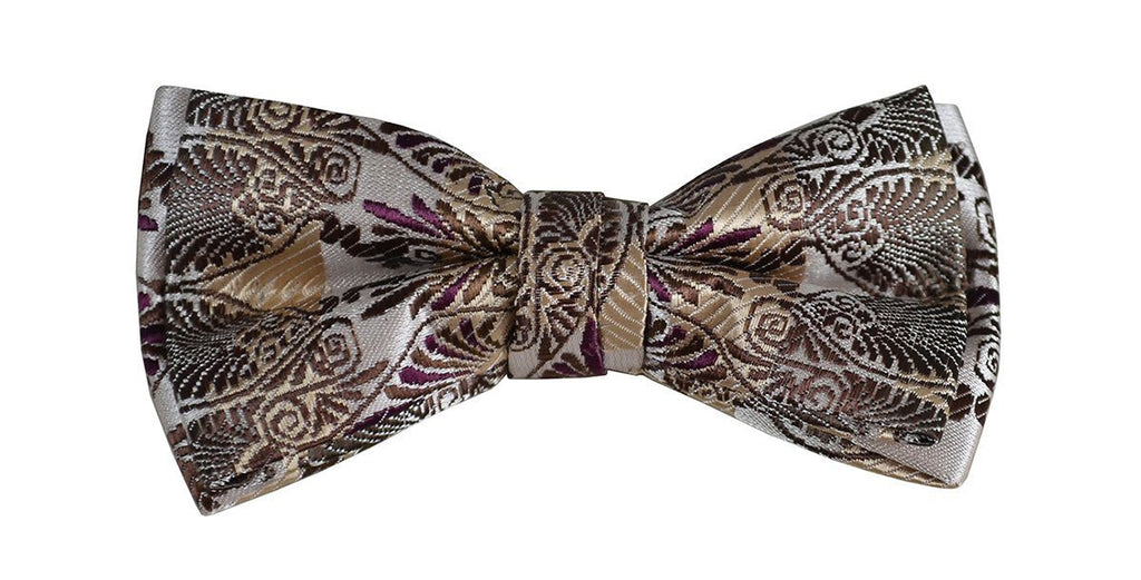 Brown Paisley Boys Bow Tie and Pocket Square Set, Pre-tied Paul Malone Bow Tie - Paul Malone.com