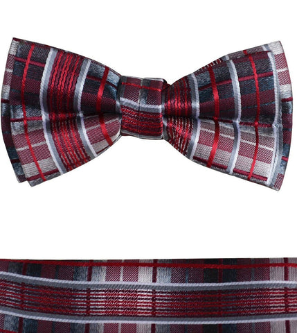Pink and Grey Boys Bow Tie and Pocket Square Set, Pre-tied
