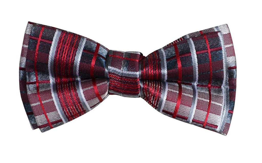 Red and Black Boys Bow Tie and Pocket Square Set, Pre-tied Paul Malone Bow Tie - Paul Malone.com