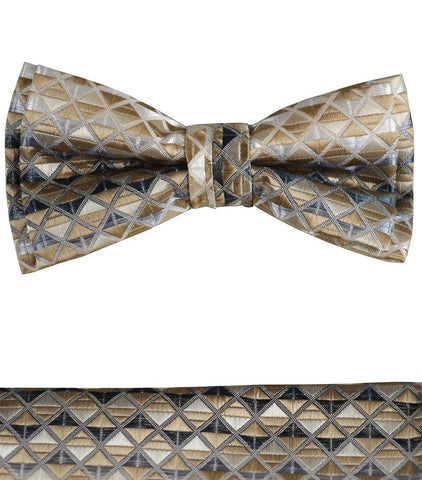 Black and Silver Boys Bow Tie and Pocket Square Set, Pre-tied