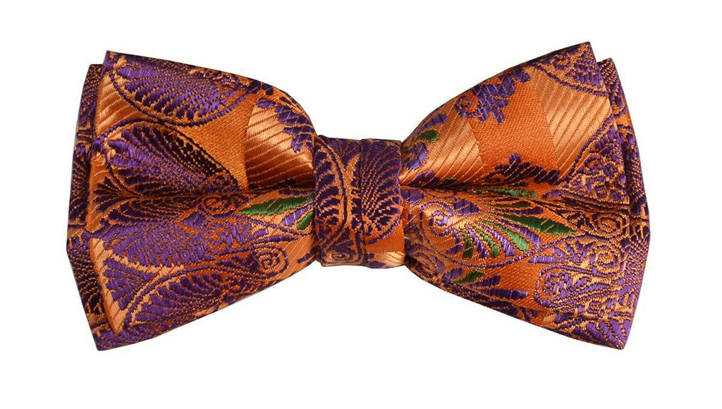 Dark Orange Boys Bow Tie and Pocket Square Set, Pre-tied Paul Malone Bow Tie - Paul Malone.com