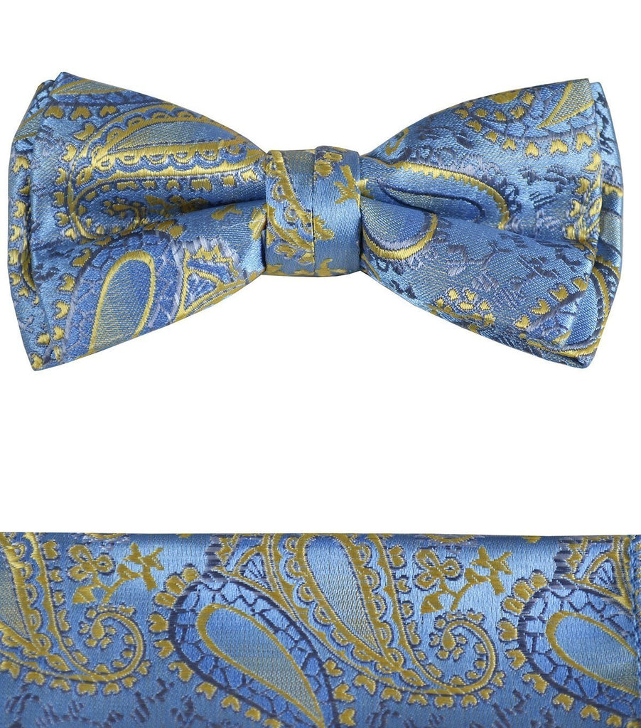 Blue and Gold Boys Bow Tie and Pocket Square Set, Pre-tied Paul Malone Bow Tie - Paul Malone.com