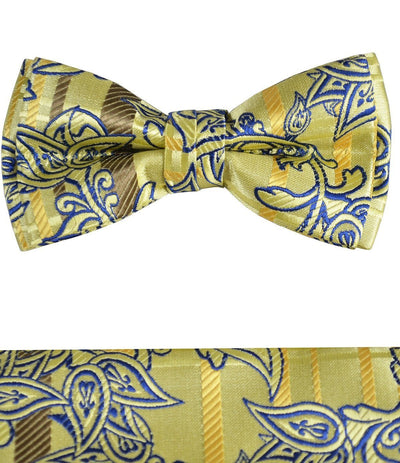 Yellow and Blue Boys Bow Tie and Pocket Square Set, Pre-tied Paul Malone Bow Tie - Paul Malone.com
