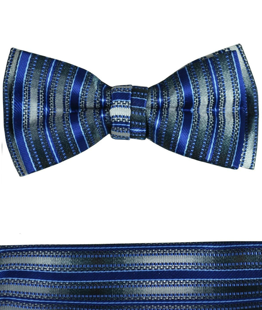 Dark Blue and Grey Boys Bow Tie and Pocket Square Set, Pre-tied Paul Malone Bow Tie - Paul Malone.com
