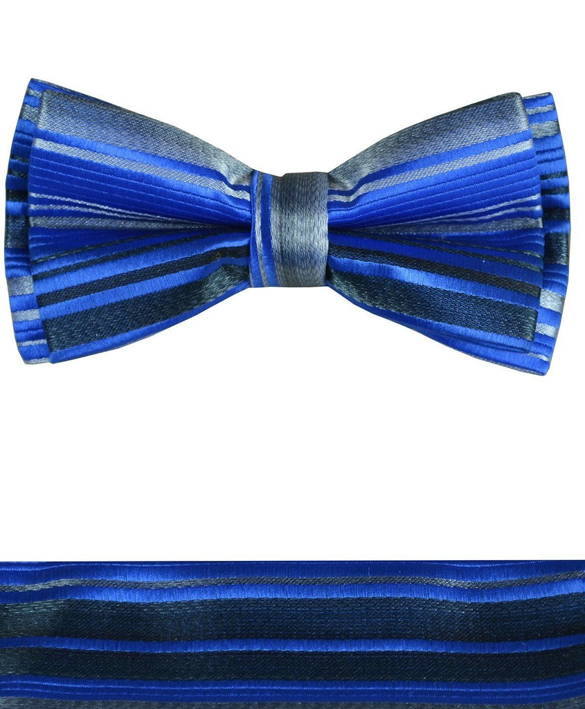 Blue and Grey Boys Bow Tie and Pocket Square Set, Pre-tied Paul Malone Bow Tie - Paul Malone.com