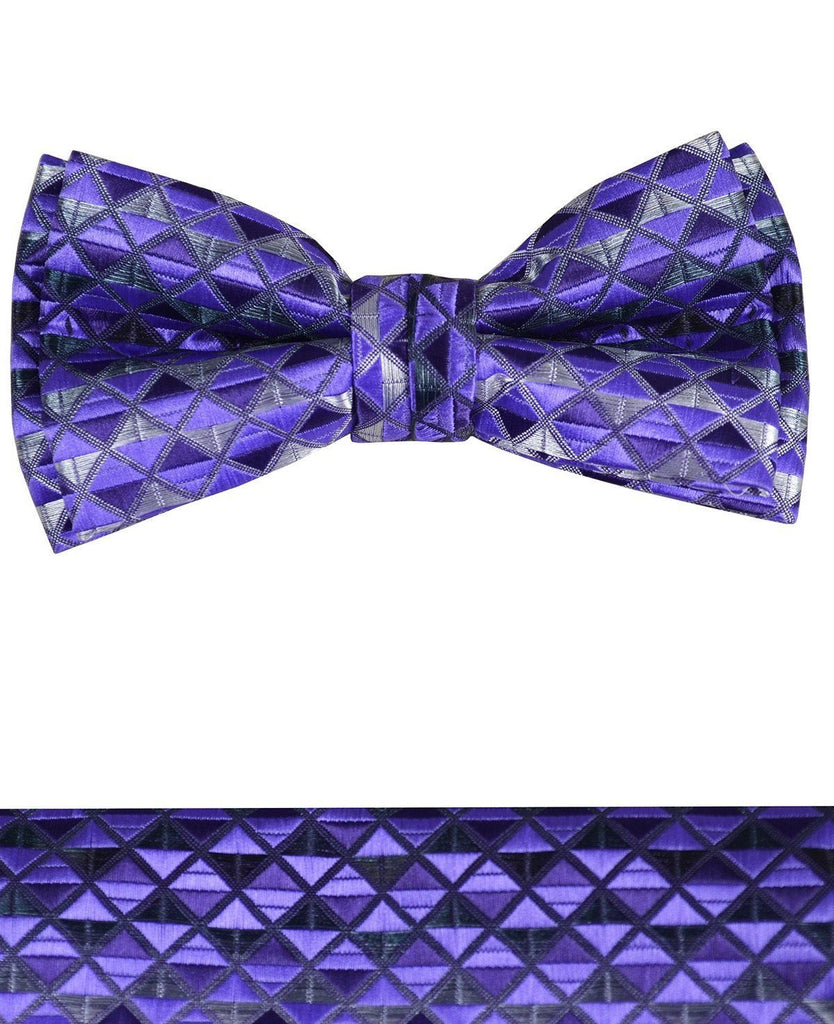 Deep Purple Boys Bow Tie and Pocket Square Set, Pre-tied Paul Malone Bow Tie - Paul Malone.com