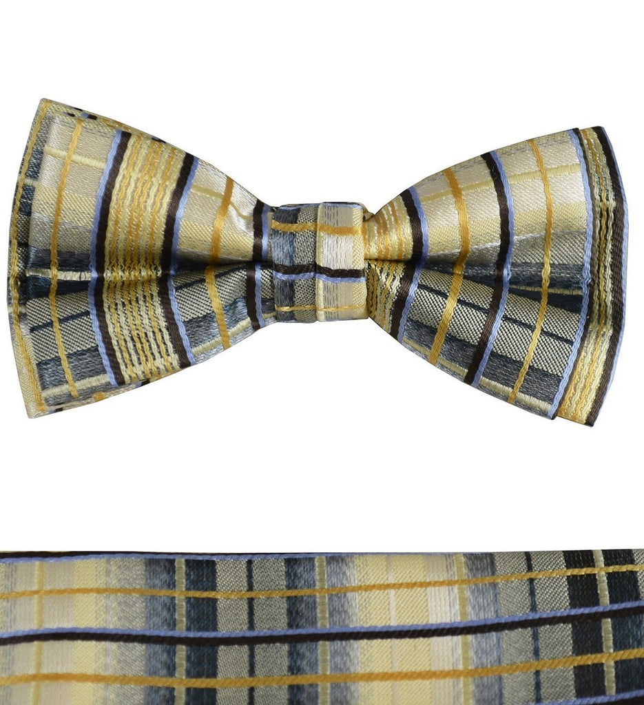 Yellow Boys Bow Tie and Pocket Square Set, Pre-tied Paul Malone Bow Tie - Paul Malone.com