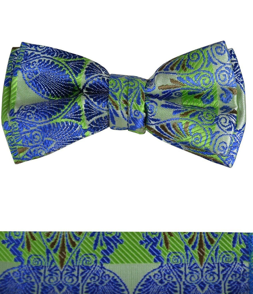 Blue and Green Boys Bow Tie and Pocket Square Set, Pre-tied Paul Malone Bow Tie - Paul Malone.com