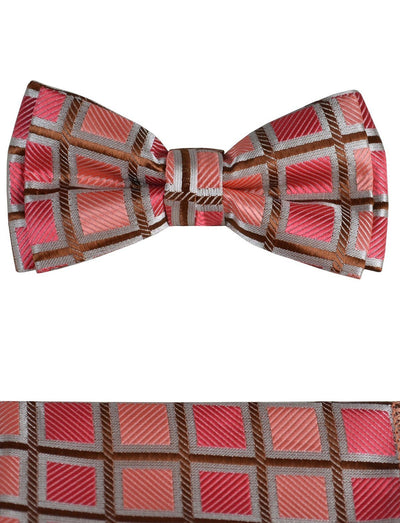 Red and Brown Boys Bow Tie and Pocket Square Set, Pre-tied Paul Malone Bow Tie - Paul Malone.com