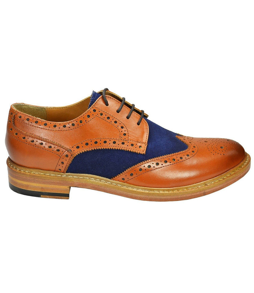 BRADFORD Brown and Navy Full Brogue Oxford Leather Shoes Paul Malone Shoes - Paul Malone.com