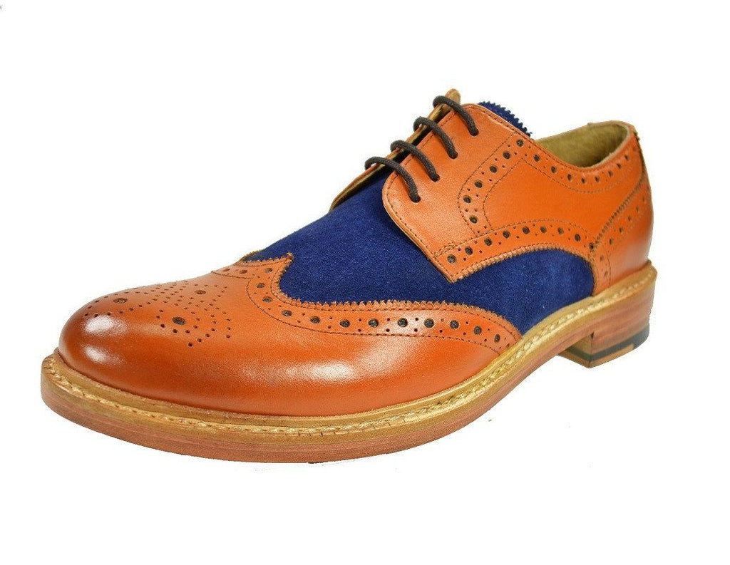 BRADFORD Brown and Navy Full Brogue Oxford Leather Shoes Shoes Paul Malone