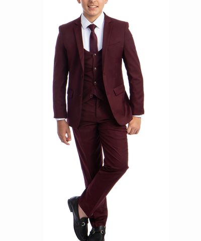 Solid Burgundy Boys Suit Set with Vest, Tie and Shirt Perry Ellis Suits - Paul Malone.com