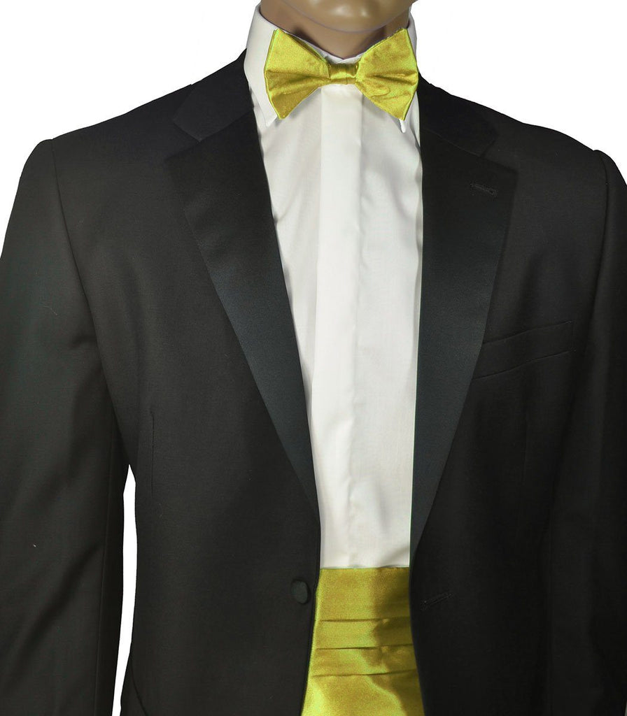 Solid Yellow Cummerbund and Bow Tie Set Paul Malone Cummerbund - Paul Malone.com