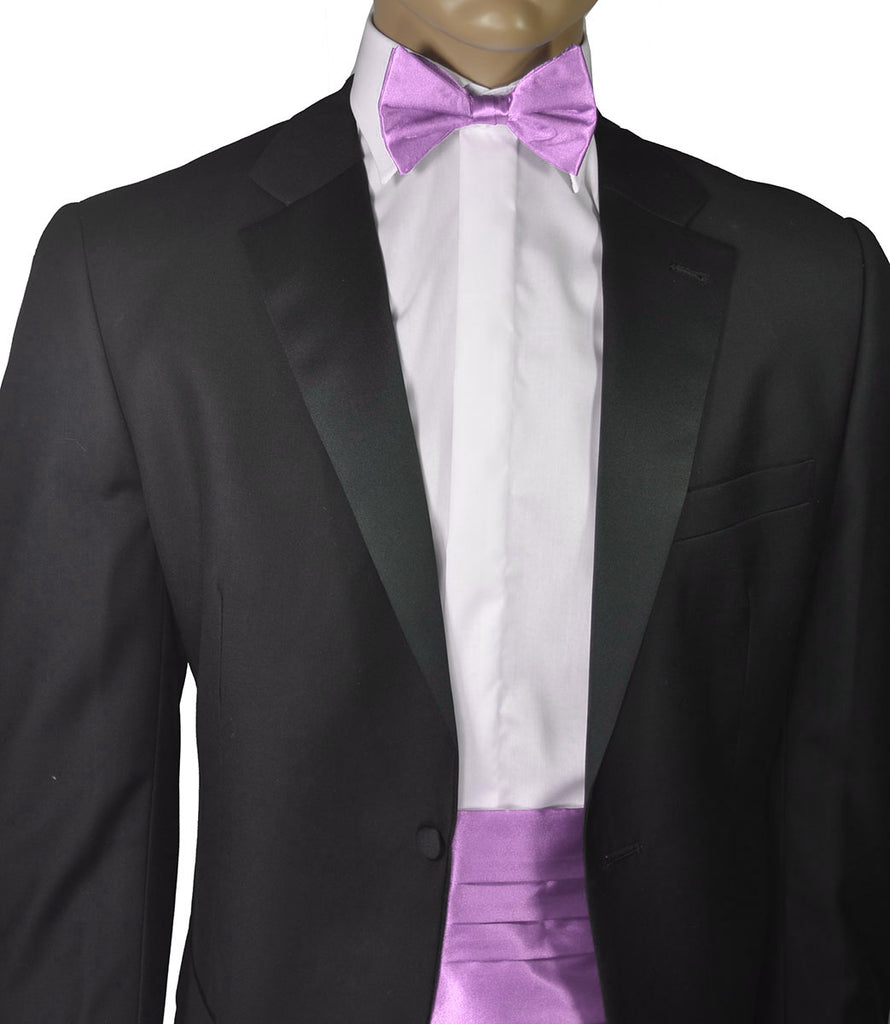 Solid Lilac Silk Cummerbund and Bow Tie Set Paul Malone Cummerbund - Paul Malone.com