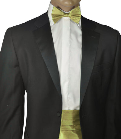Solid New Wheat Silk Cummerbund and Bow Tie Set Paul Malone Cummerbund - Paul Malone.com