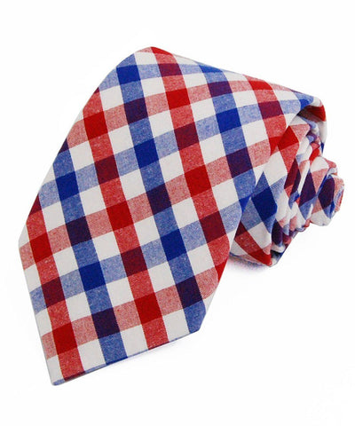 Red and Blue Plaid Cotton Necktie Paul Malone Ties - Paul Malone.com