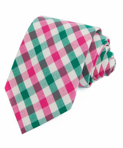 Green and Pink Plaid Cotton Necktie Paul Malone Ties - Paul Malone.com