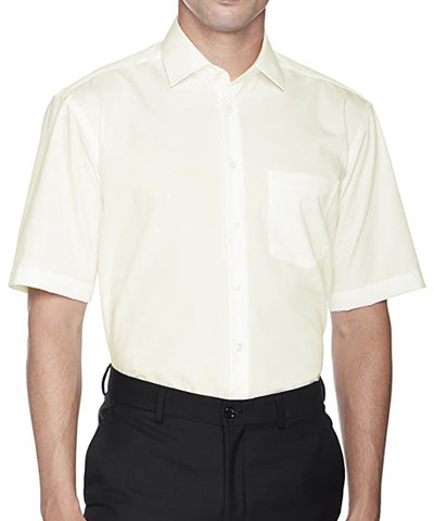 Solid Champagne Poplin Short Sleeve Dress Shirt Modena Shirts - Paul Malone.com