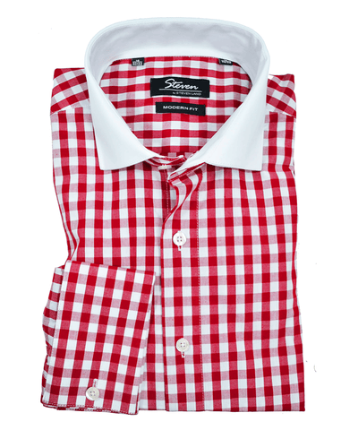 Red and White Plaid Slim Fit Dress Shirt Steven Land Shirts - Paul Malone.com