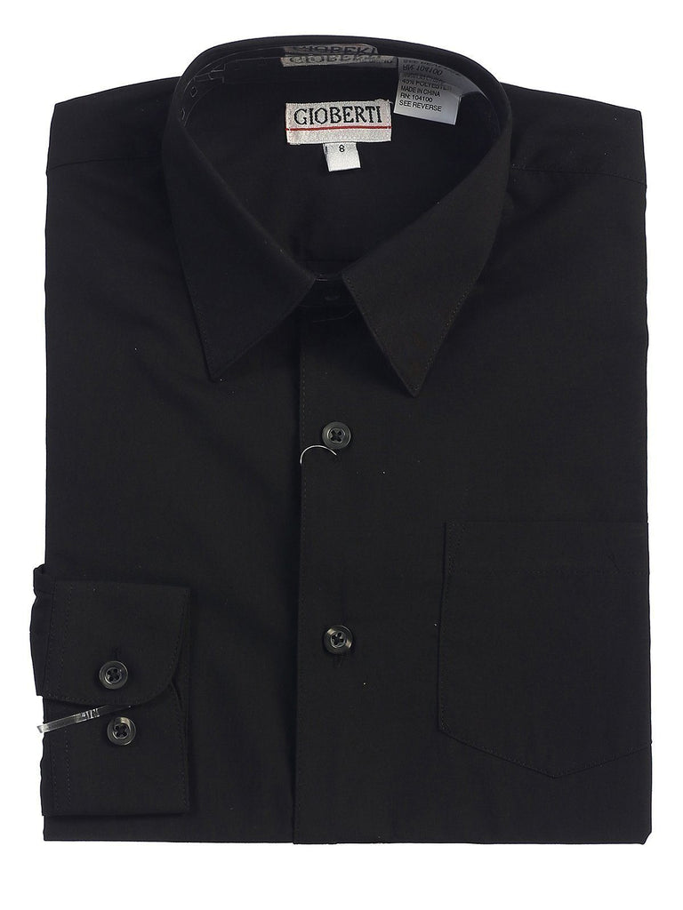 Classic Black Boys Dress Shirt Gioberti Shirts - Paul Malone.com