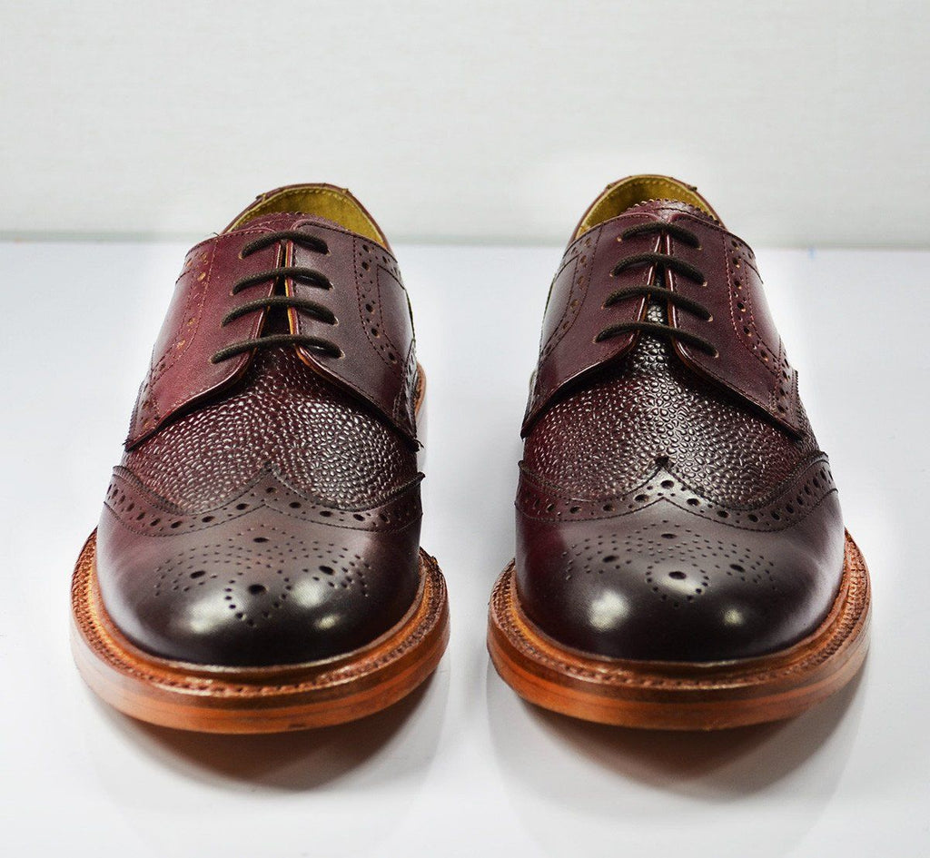 BRADFORD Burgundy Full BrogueLeather Oxford Shoes Paul Malone Shoes - Paul Malone.com