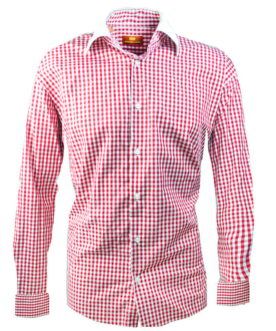 Red and White Gingham Dress Shirt with Contrast Collar Steven Land Shirts - Paul Malone.com