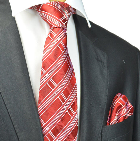 Red and Black Silk Tie and Pocket Square