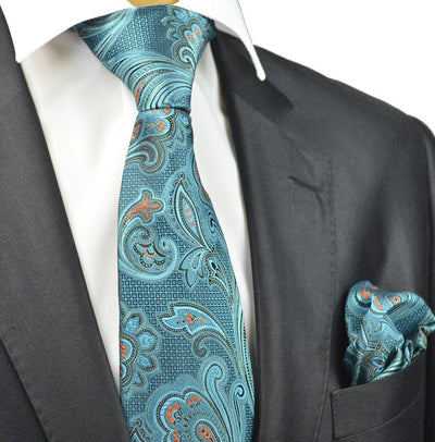 Turquoise Paisley Necktie and Pocket Square Paul Malone Ties - Paul Malone.com