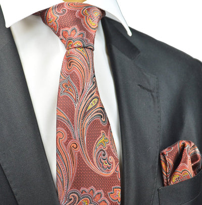Fire Red Paisley Necktie and Pocket Square Paul Malone Ties - Paul Malone.com