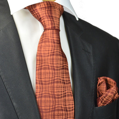 Bronze Silk Tie and Pocket Square Paul Malone Ties - Paul Malone.com