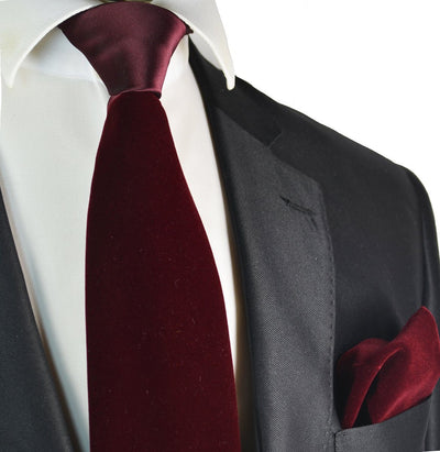 Burgundy Red Velvet Tie and Pocket Square Brand Q Ties - Paul Malone.com