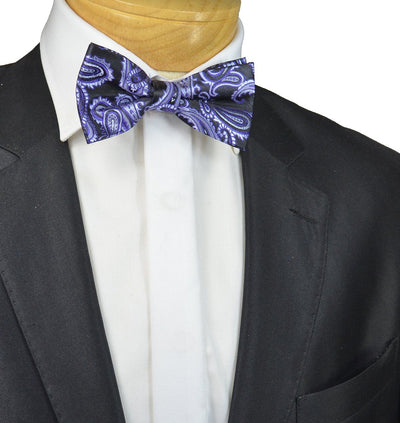 Purple and Black Paisley Bow Tie Paul Malone Bow Ties - Paul Malone.com