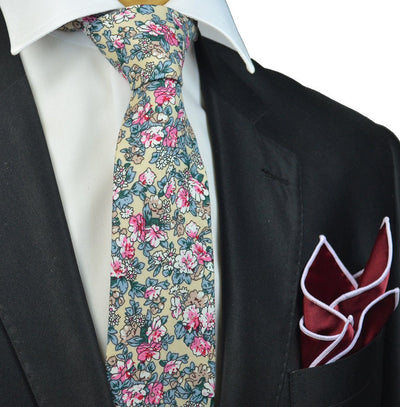 Lamb's Wool Floral Cotton Necktie Paul Malone Ties - Paul Malone.com