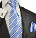 Blue, Grey and White Stripes Silk Tie Set Paul Malone Ties - Paul Malone.com