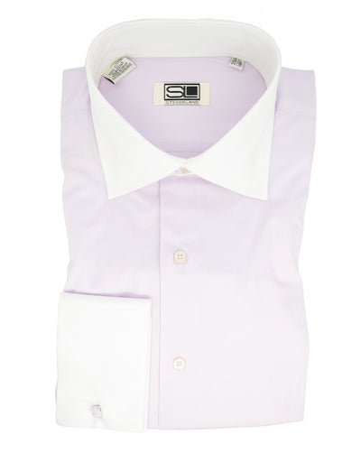 Lilac and White French Cuff Dress Shirt Steven Land Shirts - Paul Malone.com