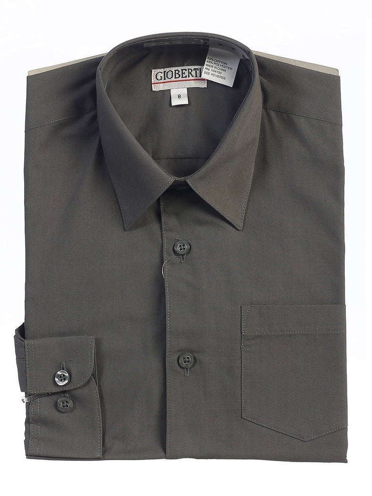 Classic Dark Gray Boys Dress Shirt Gioberti Shirts - Paul Malone.com