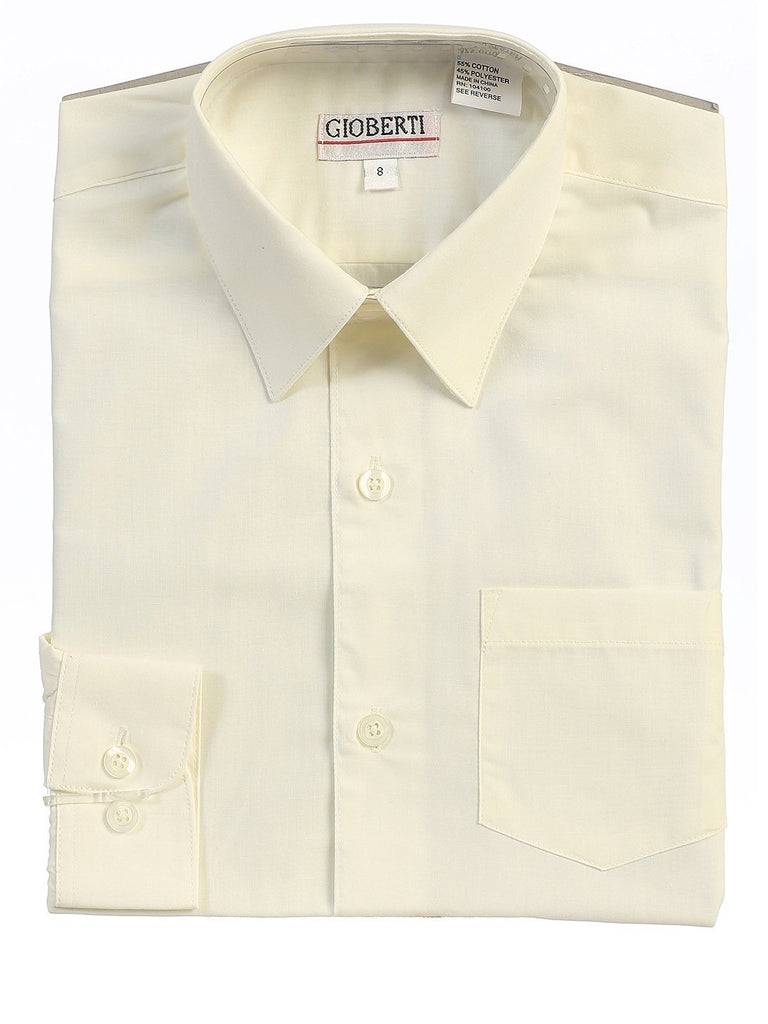 Classic Ivory Boys Dress Shirt Gioberti Shirts - Paul Malone.com