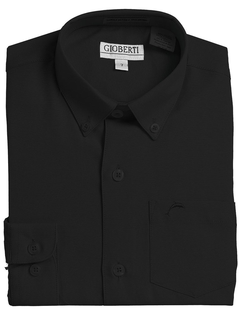 Black Boys Long Sleeve Oxford Button Down Dress Shirt Gioberti Shirts - Paul Malone.com