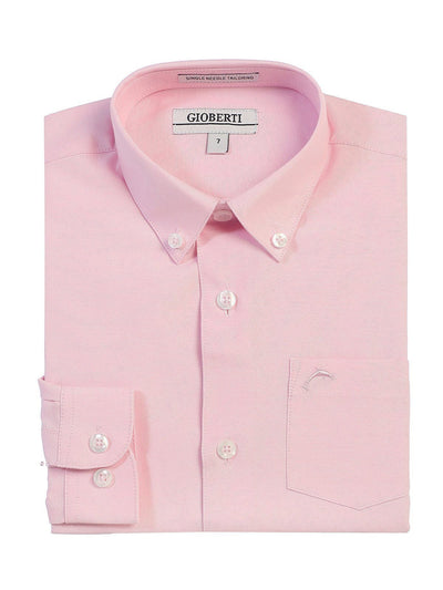 Pink Boys Long Sleeve Oxford Button Down Dress Shirt Gioberti Shirts - Paul Malone.com