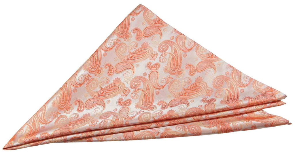 Coral Paisley Silk Necktie Set by Paul Malone Paul Malone Ties - Paul Malone.com