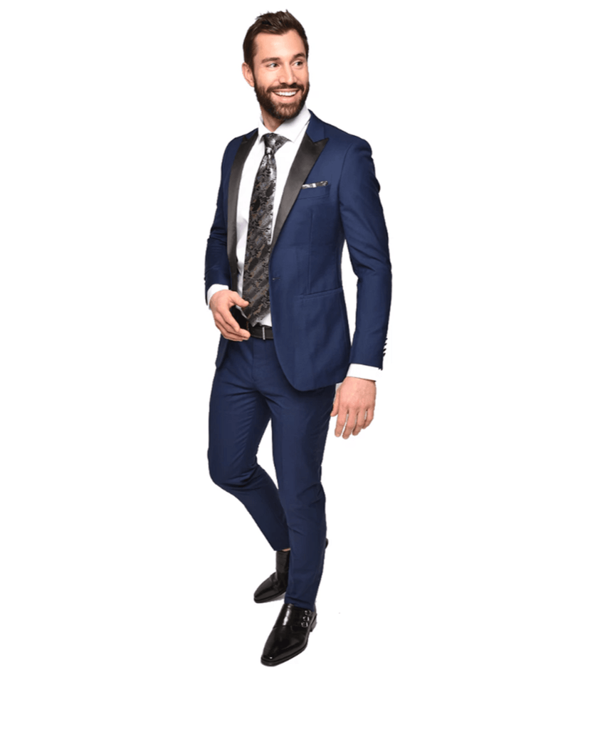 Ultra Slim Blue Tuxedo by Steven Land Steven Land Suits - Paul Malone.com