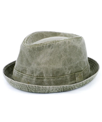 Grey Linen/Cotton Fedora with 1 3/8 Brim