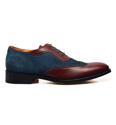 FLYNN Brown and Burgundy Leather Oxfords Paul Malone Shoes - Paul Malone.com