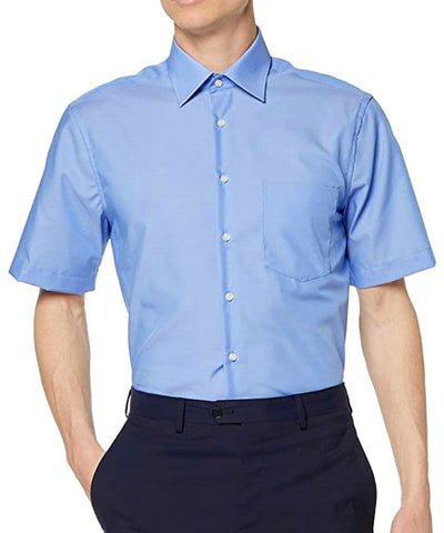 Solid Blue Poplin Short Sleeve Dress Shirt Modena Shirts - Paul Malone.com