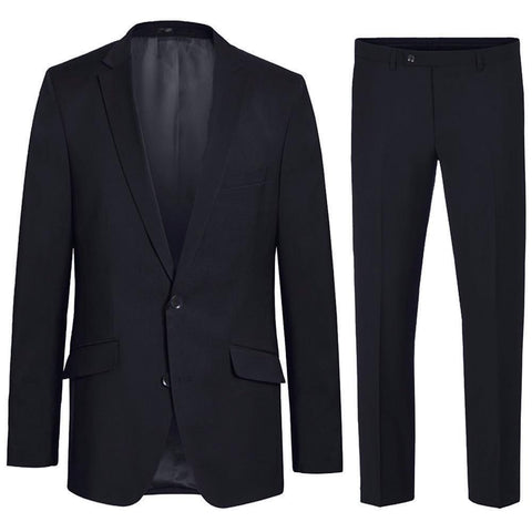 Modern Fit Black Suit with Pick Stitch