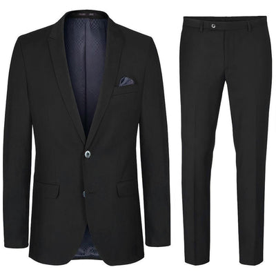 Slim Fit Black Suit with Pick Stitch Paul Malone Suits - Paul Malone.com