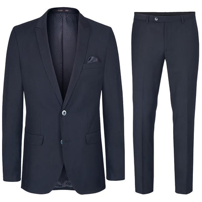 Slim Fit Navy Blue Suit with Pick Stitch Paul Malone Suits - Paul Malone.com