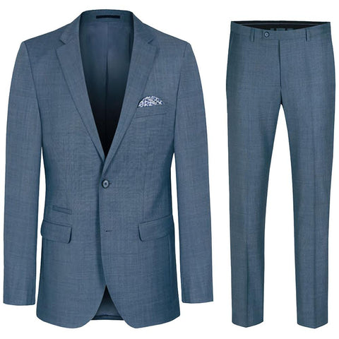 Classic Men's Suit in Solid Grey with Stretch, Wool
