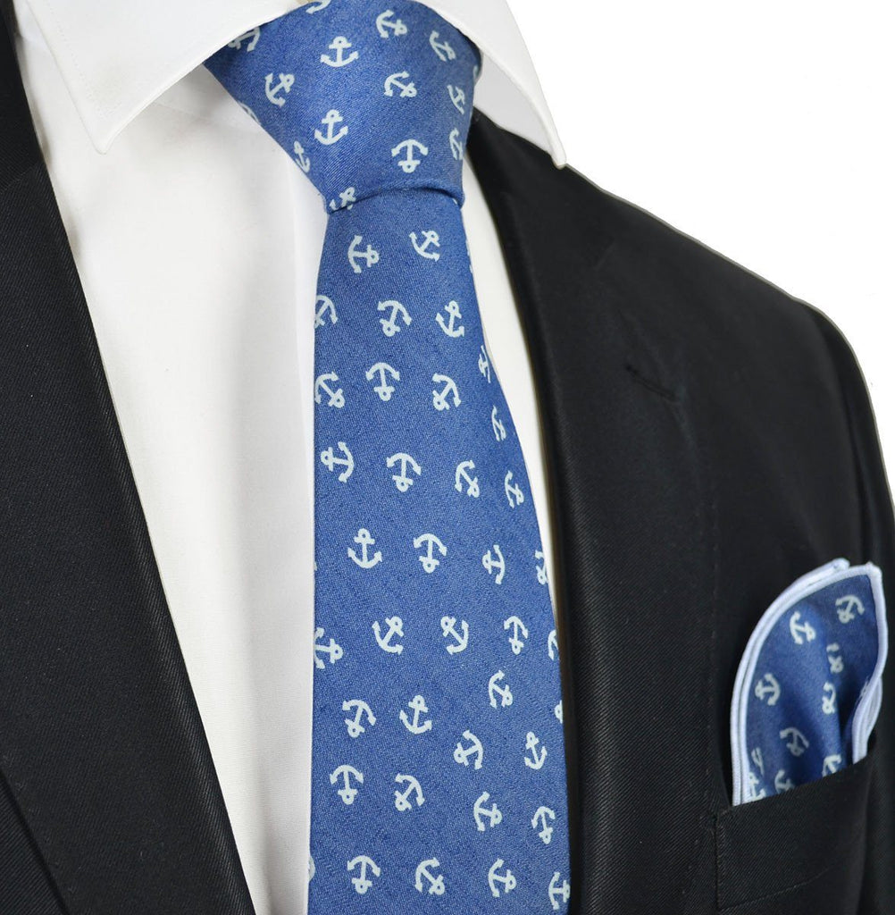 9693c3082609 Light Blue Anchor Cotton Tie with Pocket Square – Paul Malone